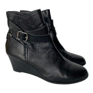 Lucky Brand Ankle Wedge Booties Black Leather Zip